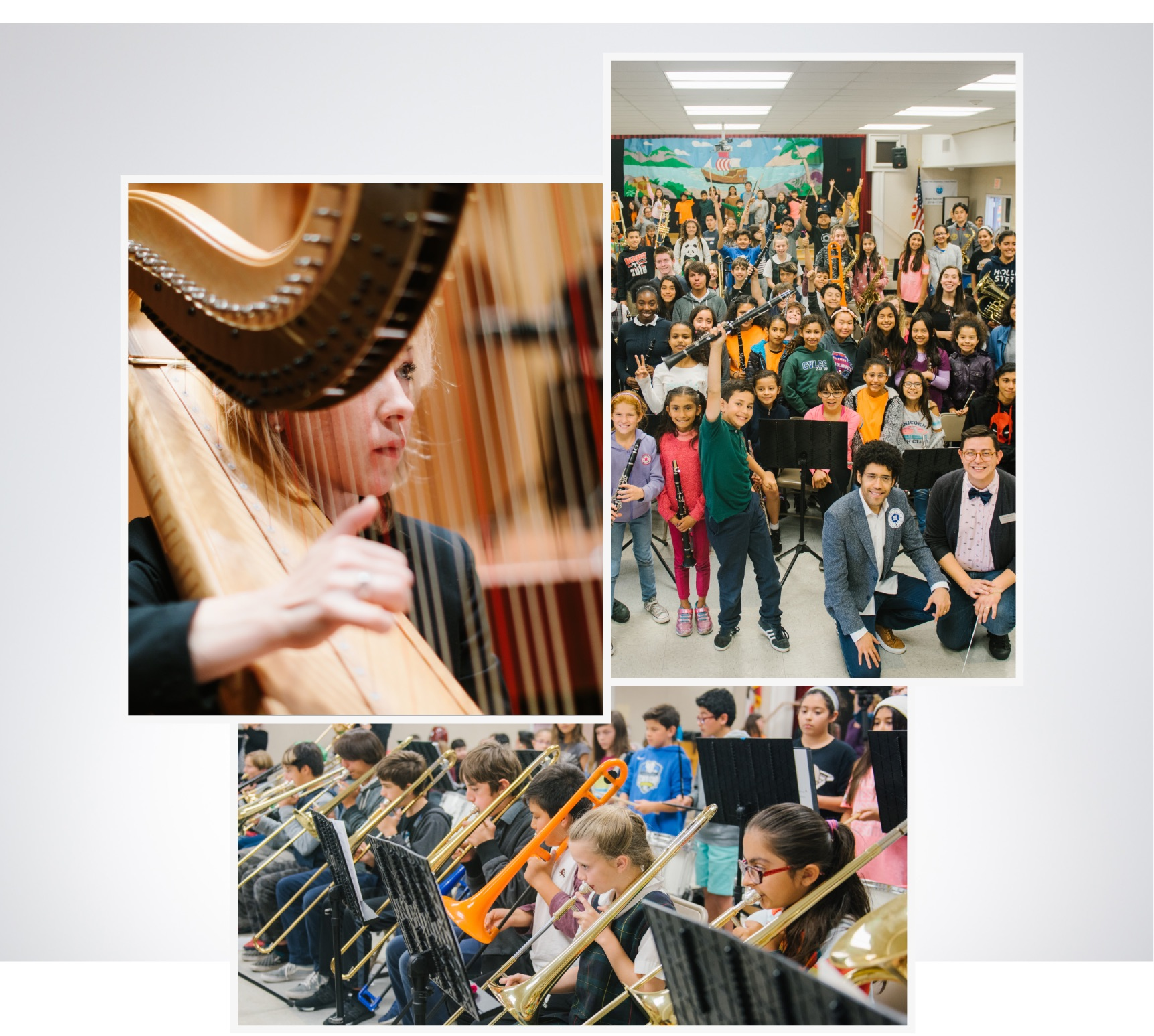 collage of images. Symphony musicians, Rafael Payare with students, children playing instruments.
