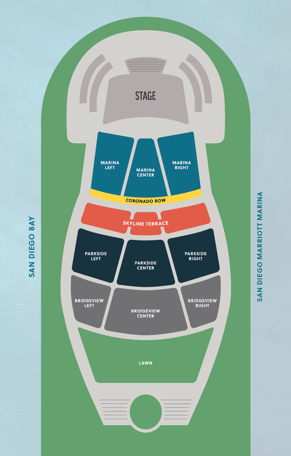 Map of seating arrangement of new Bayside Performance Park